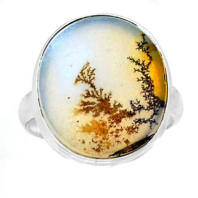 Scenic Dendritic Agate 925 Sterling Silver Ring Jewelry s.8 SDAR740