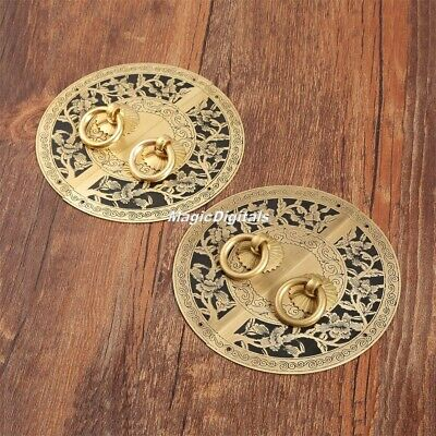Retro Antique Cabinet Latch Flower Plate Door Drawer Pull Knocker Handle Decor