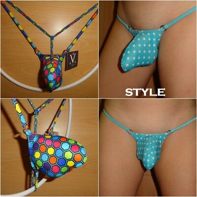 *JOE* Mens sexy low cut push out g-string Multicoloured hexagrid XS, S, M, L, XL