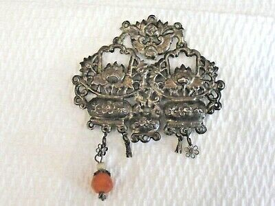Antique Sterling Silver Chinese Qing Dynasty Repousse Chatelaine Ornament