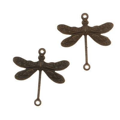 Vintaj   Natural Brass Dragonfly Connector Beads 17mm  (2)