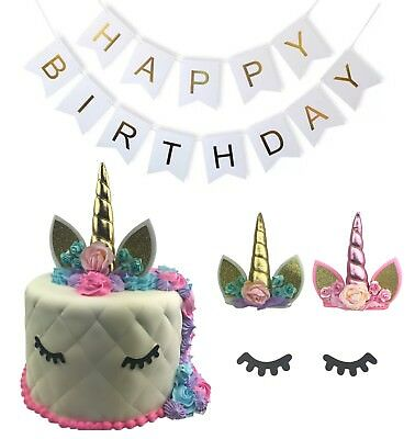 Unicorn Cake Topper Happy Birthday Banner Party Edible Head Eyelahes SET OF 3