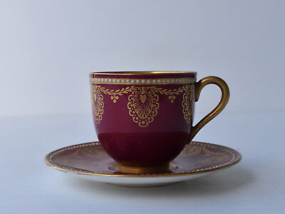1930 Royal Worcester Jewelled Minature Cup, Burgundy Maroon, Gilt, High Quality