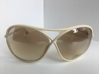New Tom Ford Vicky TF 184 TF184 25G 65mm White Oversized Women's Sunglasses