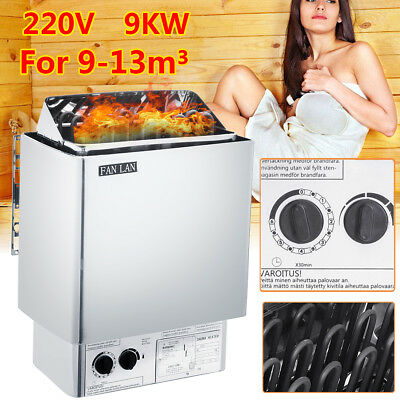 FAN LAN 220V 9KW Sauna Heater Stove Wet Dry Stainless Steel Internal Control