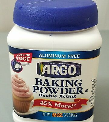 Argo Baking Powder 12 Oz Double Acting Aluminum Free 45% More Leveling Edge