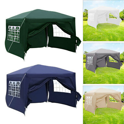 Heavy Duty Waterproof Garden Outdoor Pop Up Gazebo Wedding Party Tent w/ 4 Sides