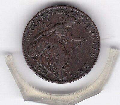 1821  King  George  IIII  Farthing   (1/4d)  Copper  Coin