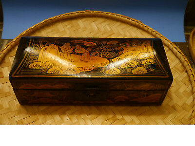 Antique Vintage Chinese Black Lacquer Gold Painted Box Wooden