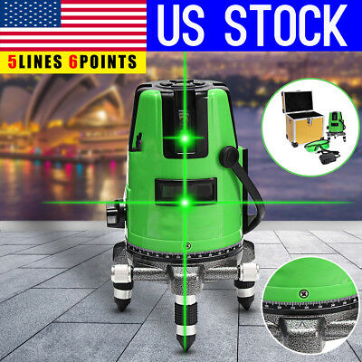 US 3D Green 360° Rotary Cross 5 Line Laser Level Self Leveling Measure Tools Kit
