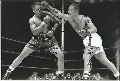 Archie Moore v Rocky Marciano unsigned 12x8 photo Ref 1034