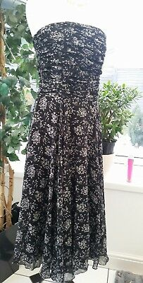 "Hobbs Black Floral Strapless Occasion Dress ~ Chiffon ~ Size 8/10 - 34"" Bust"