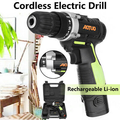 Power Electric Cordless 10mm Drill Screwdriver Variable Speed LED Rechargeable