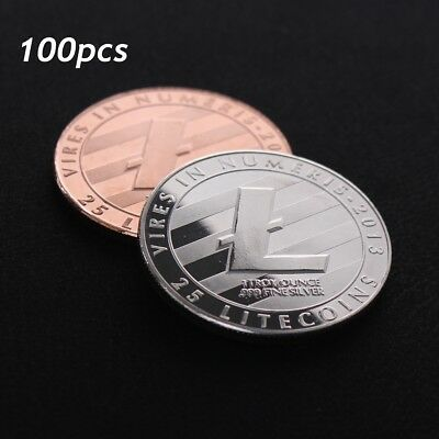 100X Rare Litecoin Collectible Silver/Copper Plated Commemorative Art Coin Gifts
