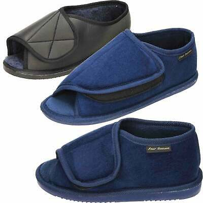 Unisex Extra Wide Fit Warm Lined Open Toe Black Blue Slippers Shoe Mens Ladies