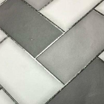 Holden Decor Chevron Tile Kitchen Bathroom Wallpaper GreyCharcoal  89302
