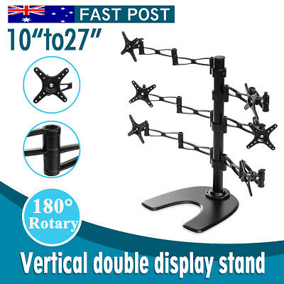 Dual HD LED Desk Mount Monitor Stand Bracket 6 Arm Holds Six LCD Screen Holder