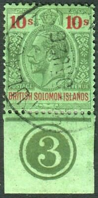 BRITISH SOLOMON ISLANDS-1925 1d Green & Red/Emerald fine used marginal Sg 52