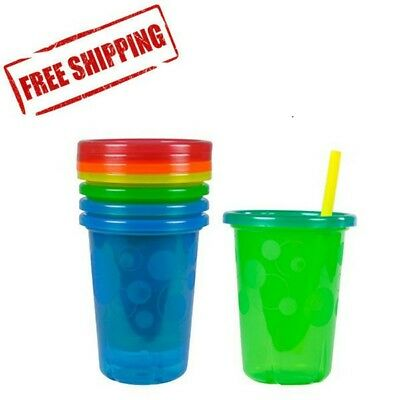 Spill Proof Straw Cups Lids Kids Sippy Reuseable Tumbler Toddler Child Plastic