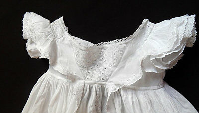 Heirloom Antique Ayrshire Christening Gown Handmade with Embroidery c.1830-40