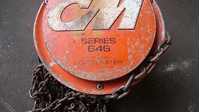 1 ton CM Columbus McKinnon SERIES 646  chain hoist FALL APP 20 FT WITH HOOKS