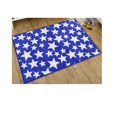 Brand new in bag Kit for kids nursery rug in Blue with white stars 100x150 cm
