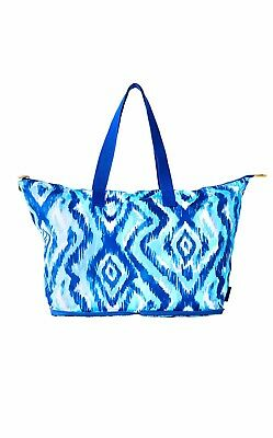 LILLY PULITZER Getaway Packable Tote Skipped a Beach All Over Blue Swish NEW