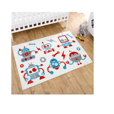 Brand new in bag Kit for kids nursery rug in blue and white robots 100x150 cm