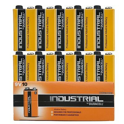 10 x Duracell Industrial 9V Alkaline battery LR22 BLOCK MN1604 6LR61 6LP3146