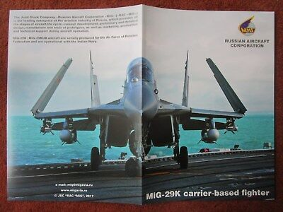 2017 Depliant Pub Recto Verso Russian Aircraft Mig-29K Carrier Based Fighter