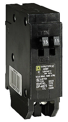 Homeline 15 Amp Single Pole Tandem Circuit Breaker, Square, HOMT1515CP