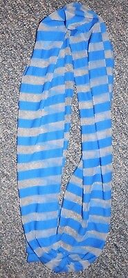 One Size Fits All--Justice Brand Royal Blue Striped Infinity Scarf--Excellent