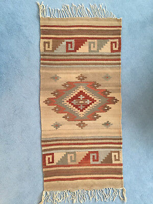 Wool Mexican Native American Southwest Blanket Rug 27 X 61 Inches