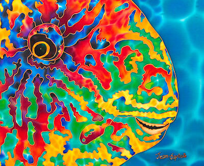 Jean-Baptiste Original Batik Silk Painting Of A Parrotfish