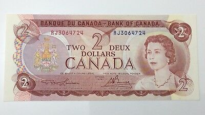 1974 Canada 2 Two Dollar Prefix RJ Money Canadian Uncirculated Banknote E502