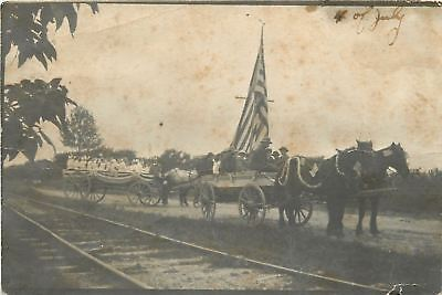 Horse Drawn Patriotic Wagon Floats~Big Flag~Railroad Tracks~RPPC c1913