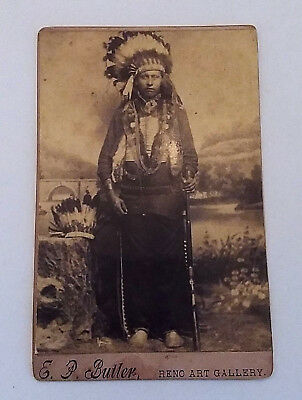 Fantasy Re Created Cabinet Photo Native American Indian in Head Dress