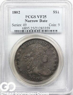 1802 PCGS Draped Bust Dollar PCGS VF 25 ** Free Shipping!