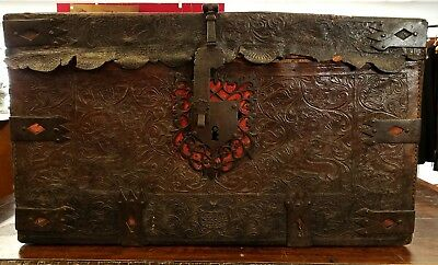 Antique Spanish Colonial 19th 18th c Hand Tooled Leather & Iron Trunk w/Figures