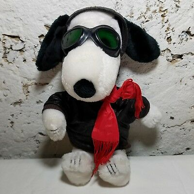 """Peanuts Snoopy Plush Red Baron VNT Applause 12"""" 1966 Jacket Hat Goggles Stuffed"""