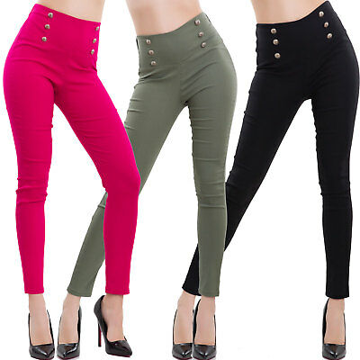 Women's trousers high waist buttons elasticated skinny cigarette sexy VB-6137
