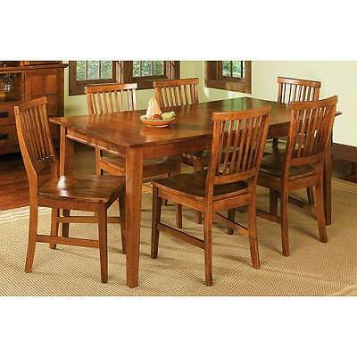 7 Piece Dining Set Cottage Oak 6 Chairs And Expandable Table Breakfast Furniture