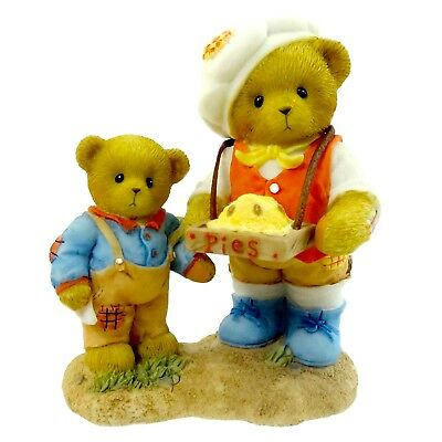 Cherished Teddies Vincent and Reed Bears Selling Pies Figurine New Free Ship