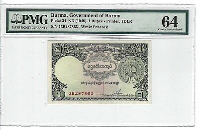 P-34 1948 1 Rupee, Burma, Government of Burma, PMG 64 Very Choice Uncirculated