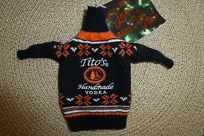 Tito's Handmade Vodka Ugly Sweater Bottle Cover ~ New with Tags