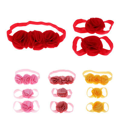 MagiDeal 3Pcs Baby Infant Headband Foot Flower Elastic Hair Band Accessories