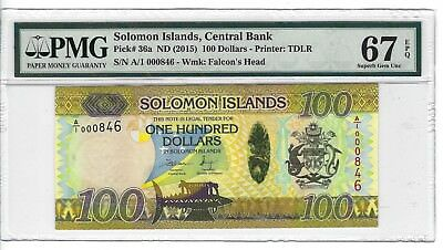 P-36a 2015 100 Dollars, Solomon Islands Central Bank, PMG 67EPQ SUPERB!