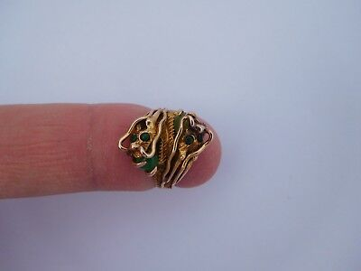 Very Rare Small Chinese Circa 1900 14K Gold Jade Ying Yang Dragons Ring !