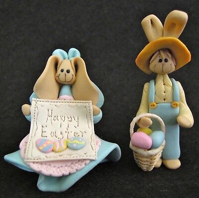 Polymer Femo Clay Figurines Bunny Rabbits Happy Easter sign Eggs Miniatures Lot