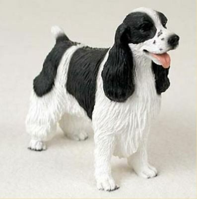 SPRINGER SPANIEL (BLACK WHITE) DOG Figurine Statue Hand Painted Resin